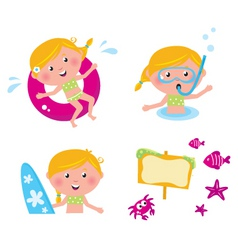 vector collection summer kids vector image vector image