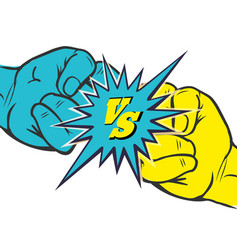 versus rivalry fist sign vector image