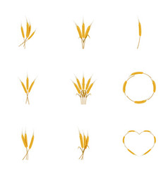 Wheat ears or rice icons set cartoon style vector