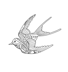 Contour image of bird flying with ornamernt vector image