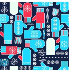 Winter mittens snowflake seamless pattern vector