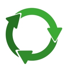 Green circular recycling symbol shape with arrows vector