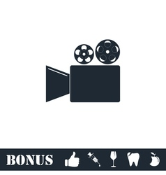 Cinema camera icon flat vector