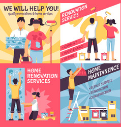 Renovation advertising compositions set vector
