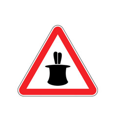 Magic trick warning sign red hazard attention vector