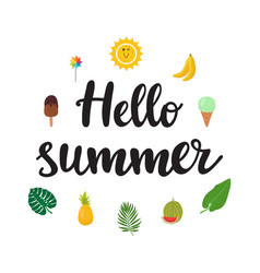 Hello summer beautiful poster with ice-cream vector