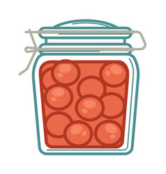 Jar with pickled tomatoes vector