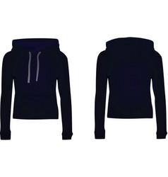 Women dark blue hooded sweatshirt vector