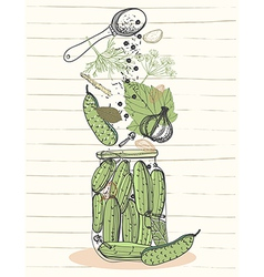 Pickled cucumbers vector