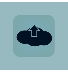 Pale blue cloud upload icon vector