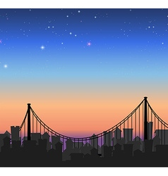 Silhouette city view with a bridge vector