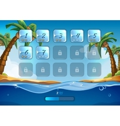 Island game background with user interface ui in vector