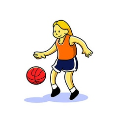 Girl teen playing basketball vector