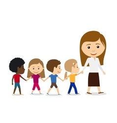 Teacher with kids on white background vector