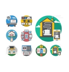Detailed round flat color smart house icons vector