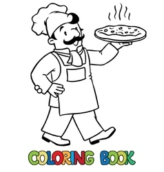 Coloring book of funny baker or chef with pizza vector image