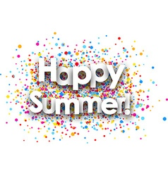 Happy summer paper card vector