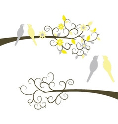Couple birds on branches vector
