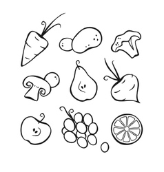 Vegetables and fruits part 1 black outlines vector