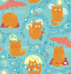 Seamless pattern summer cats vector