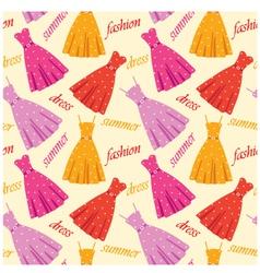 Seamless summer dresses pattern vector image