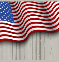 american flag on a wooden background vector image