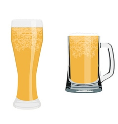 Beer glass and mug vector image vector image