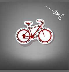 Bicycle bike sign red icon with for vector