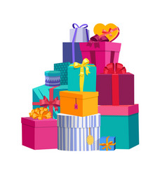 Big pile of colorful wrapped gift boxes beautiful vector