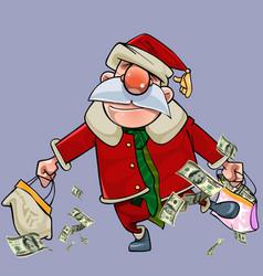 cartoon santa claus with bags full of dollars vector image vector image