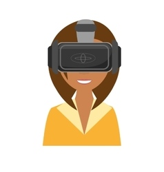 Cute girl virtual reality glasses technology new vector
