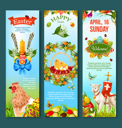 Easter sunday celebration banner template set vector