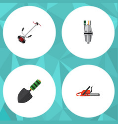 Flat icon garden set of grass-cutter trowel pump vector
