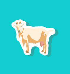 goat paper sticker on stylish background vector image vector image