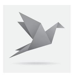 Gray black bird paper craft flying in frame art vector