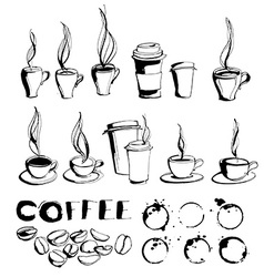 Grungy hand drawn ink coffee to go cups and mugs vector image