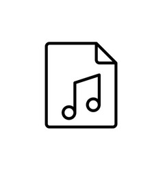 line music audio file icon on white background vector image vector image