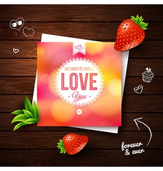 Love you card romantic design on wooden background vector