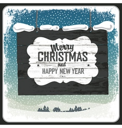 merry christmas wooden sign vector image vector image