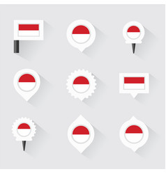 Monaco flag and pins for infographic and map vector