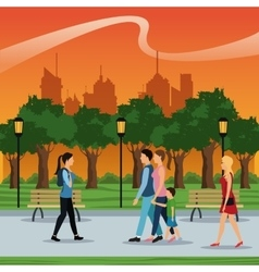 People walking urban city park brench lamp vector