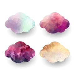 Polygonal cloud icons vector image vector image