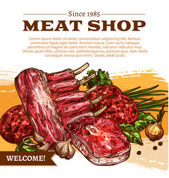 Poster for butchery shop meat products vector