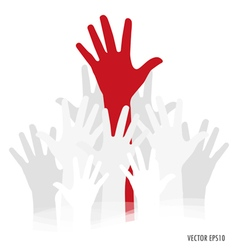 Raised hands vector image