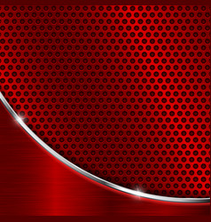 Red metal perforated background vector