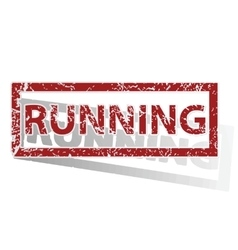 Running outlined stamp vector