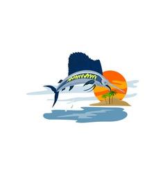 Sailfish fish jumping island background retro vector