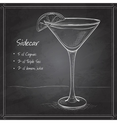 Sidecar cocktail on black board vector