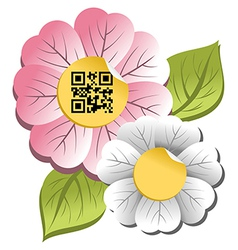 Spring time flower with qr code label vector image vector image
