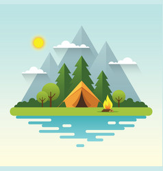 sunny day camping in flat style vector image